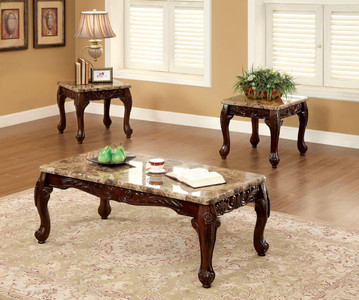 lechester dark oak solid wood faux marble 3 pc coffee table set