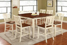 FA3326PT - DOVER II  9 PC WHITE WASH SOLID WOOD COUNTER HEIGHT DINING TABLE