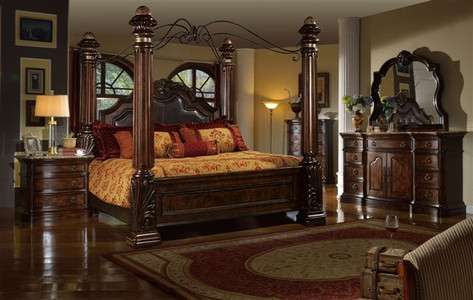 MFB6003 - Giana Brown Solid Wood Canopy Adult Bed & MFB6003 - Giana Brown Solid Wood Canopy Adult Bed - Inland Empire ...