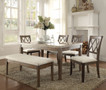 AC71715 - Claudia Salvage Brown Marble Top 6 Piece Dining Set