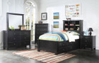 AC30390T - Mallowsea Black w/ Storage Kids Bed Set