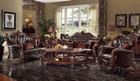 AC52120 - Versailles Dark Brown Formal Bonded Leather Sofa and Love Seat Set