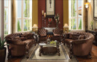 AC52080 - Versailles Brown Velvet/ Cherry Oak Sofa Set