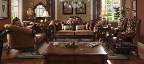 AC52095   Dresden Golden Brown Velvet Sofa And Love Seat
