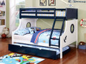 FAbk629 - Nautia Blue And White Twin/Full Bunk Bed With Trundle