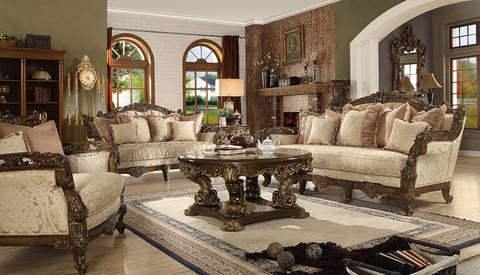 Hd1609 Leonora Formal Wood Trim Sofa And Love Seat