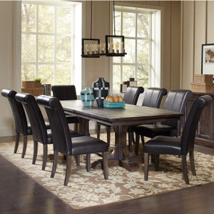 C107281 Weber Traditional 7 Piece Dining Table And Cream Upholstered Chair  Set