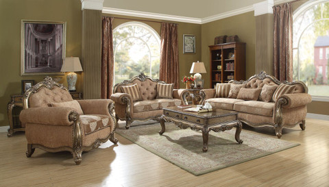 AC56030 Ragenardus Vintage Oak Finish Formal Sofa And Love Seat