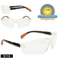 Clear Safety Glasses w/Rubber Tipped Adjustable Arms