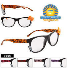 Clear Lens Wayfarers Wholesale - Style # 8066 Bows & Whiskers!