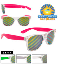 Bulk Wayfarer Sunglasses - Style # 32317 - Novelty Striped Lens