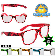 Glow In The Dark Sunglasses - Zebra Print Wayfarers - Style # 8001
