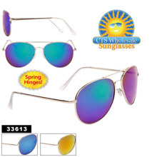 Flash Mirror Aviators with Spring Hinge - Style #33613