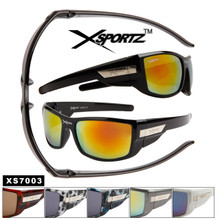Xsportz™ Wholesale Sport Sunglasses - Style # XS7003 (12 pcs.) Assorted Colors