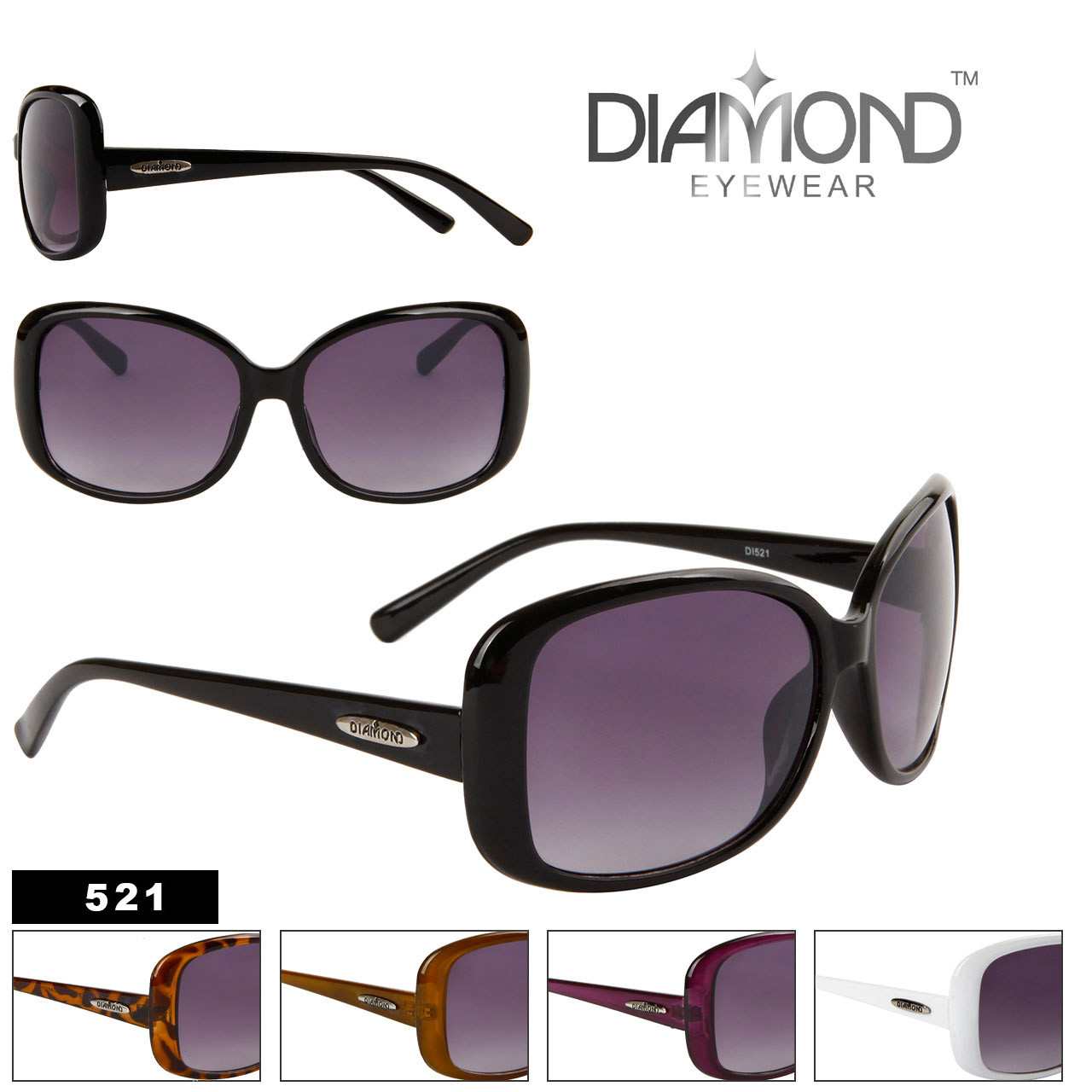 Large Framed Fashion Glasses : Diamond Eyewear Fashion Sunglasses Large Frame Designer ...