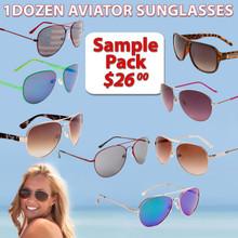 Sample Pack 12 Pair Assorted Wholesale Aviator Sunglasses SPAV (12 pcs.) (Assorted Colors)