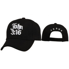 Wholesale Christian Baseball Cap | John 3:16 | Black
