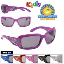 Girls Sunglasses 9055K (12 pcs.) Painted Faux Rhinestone Technique (Assorted Colors)