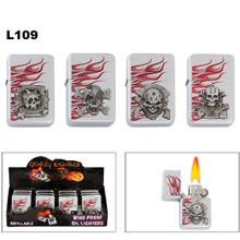Oil Lighters with flames and assorted skull emblems