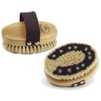 Wood Back Horseshoe Horse Hair Body Brush