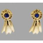 Finishing Touch Blue Ribbon Earrings - Gold