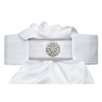 All Tied Up Stock Tie - Silver Cord Piping with Pearl Flower