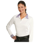 Ovation Destiny Evercool Long Sleeve Show Shirt - Ladies -  White/Wisteria