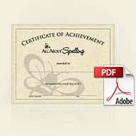 All About Spelling Level 1 Certificate of Achievement