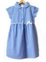 Organic School Uniform - Blue Summer Gingham Checked Dress