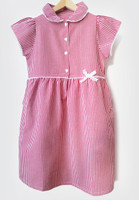 Organic School Uniform - Red Summer Gingham Checked Dress