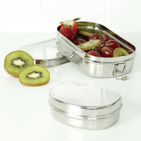 Oval Lunch Box with Mini Container - A Slice of Green