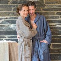 Organic Cotton Bathrobe Infinity Blue - Living Crafts