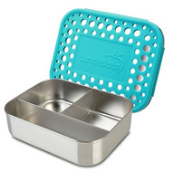 LunchBots Trio Dots Stainless Lunch Container - Aqua Blue