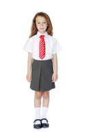 Organic School Uniform - Grey Pleated Skirt with Adjustable Waist