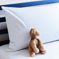 Blue Stripes Single Bed Fitted Sheet + Pillowcase - Fox Organic