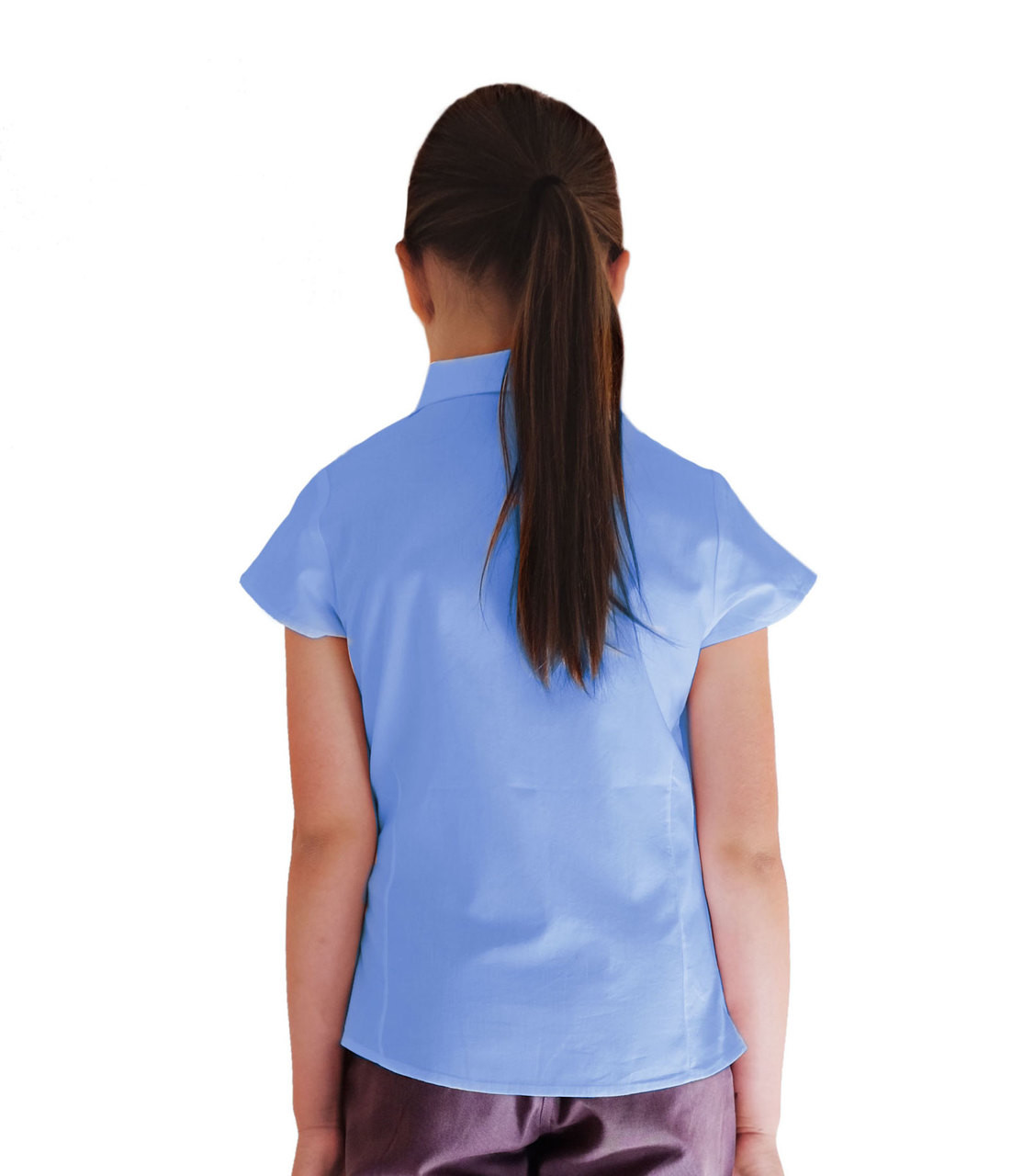 Girls Ladies Short Sleeve Rever Collar School Uniform Shirt Blouse White Sky