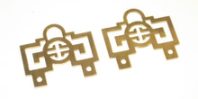 Medium Hinged Brass Oriental Hanging Brackets 2