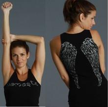 Namaste / Wings Rib Tank Top Shirt - Black