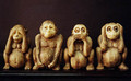 "Four Wise Monkeys Ho! What have we here! Those famous primates Speak-no- Evil, See-No-Evil & Hear-No-Evil seem to have found a fourth little buddy, who, in the name of good taste shall not be further described - the photo says it all anyway. Someone you know may need this added reminder of virtuous behavior... Made of high-quality resin, measures 7"" x 3"". They are sitting on their own black lacquer stand. Item #FSE-LK-4WM."