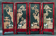 4 - Panel Screen, Intricate Cork Carving CLICK ON THE PICTURE TO ENLARGE - I want you to see that this is the real thing, 4 beautiful little scenes impossibly,intricately HAND-CARVED from cork, each one different, each with 2 lovely long-life cranes hand-carved from shell. I rave about these because they really deserve it! These are the old-fashioned kind with wooden frames and glass. Each panel measures 3 inches x 7.5 inches and are connected by little brass hinges. Totally cool... - Item #FSE-GI-CORK.