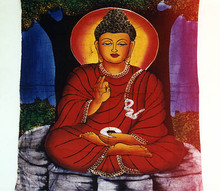 "Buddha Batik A very lovely, richly colorful batik of the Seated Shakyamuni Buddha. Beautifully done with accents of gold. Approximately 34"" x 22"" Item #FSE-GI-BBTK."