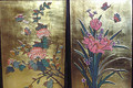 "Pair of Coromandel Gold Leaf Floral Paintings 16"" x 24"