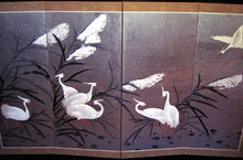"Seven White Cranes Wall Screen Seven White Cranes, a four-paneled screen in muted shades of white and brown with a silver background. Very elegant. 60 "" X 36""."