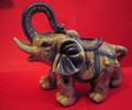 This ceramic decorated good luck elephant with its trunk up is a very special animal in the Asian and Indian world for bringing Good Luck. Ours is blue and grey, and measures 10 inches long and 9 inches tall.