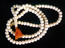 White Bone Mala Bead Necklace, No Counters