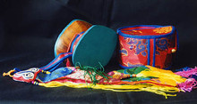 Damaru Drum - with Brocade Case and Banner