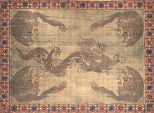 "Wonderful heavy handwoven 100% cotton tapestry featuring dragons. Looks a little antique and very charming! 70"" x 106"""