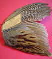 "Excellent shamanic tool. This large pheasant wing is an effective smudging fan for incense or sage. Length is about 7"" and width varies from 8"" - 12""."