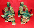 Gorgeous!Beautifully made! This pair of Kirins with coins in their mouths are mythical animals resembling the famous Fu Dog, but with the scales of the luck dragon and other embellishments of good fortune.