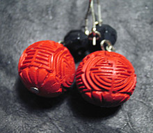 Shou (Longevity) Earrings made of Cinnabar - OUT OF STOCK